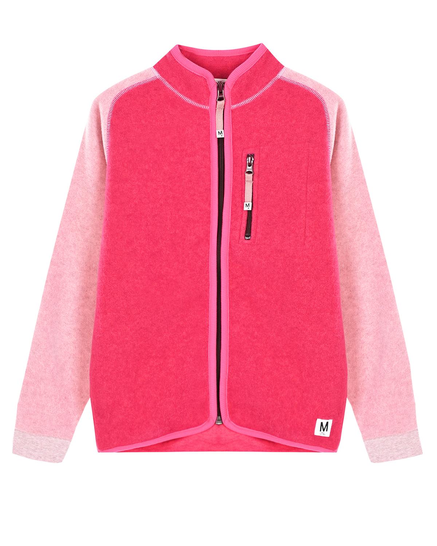 Розовая спортивная куртка из флиса Molo детская фото