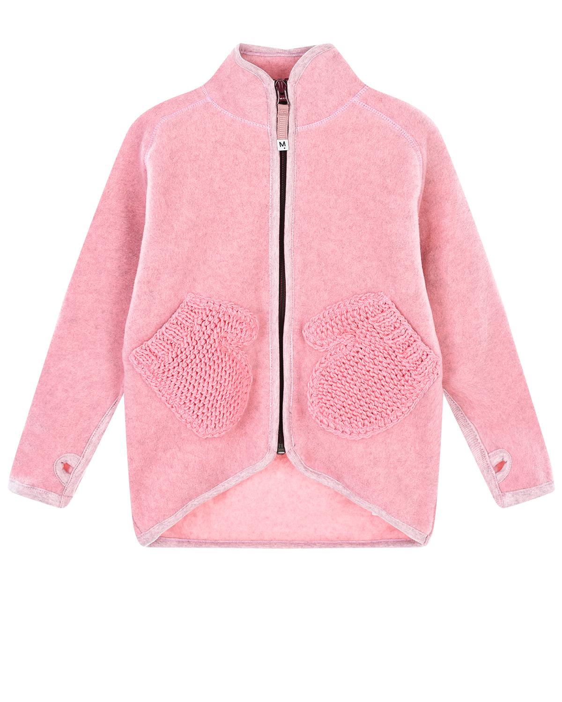 Купить Розовая спортивная куртка с карманами-варежками Molo детская, Розовый, 100%полиэстер