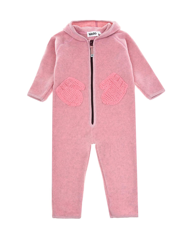 Купить Розовый комбинезон из флиса с вязаными карманами Molo детский, 100%полиэстер