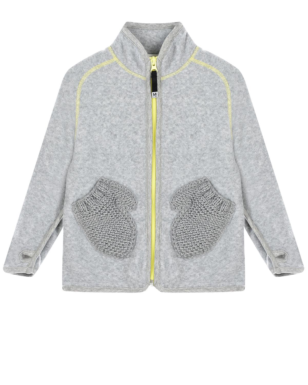 Купить Серая спортивная куртка с карманами-варежками Molo детская, Серый, 100%полиэстер