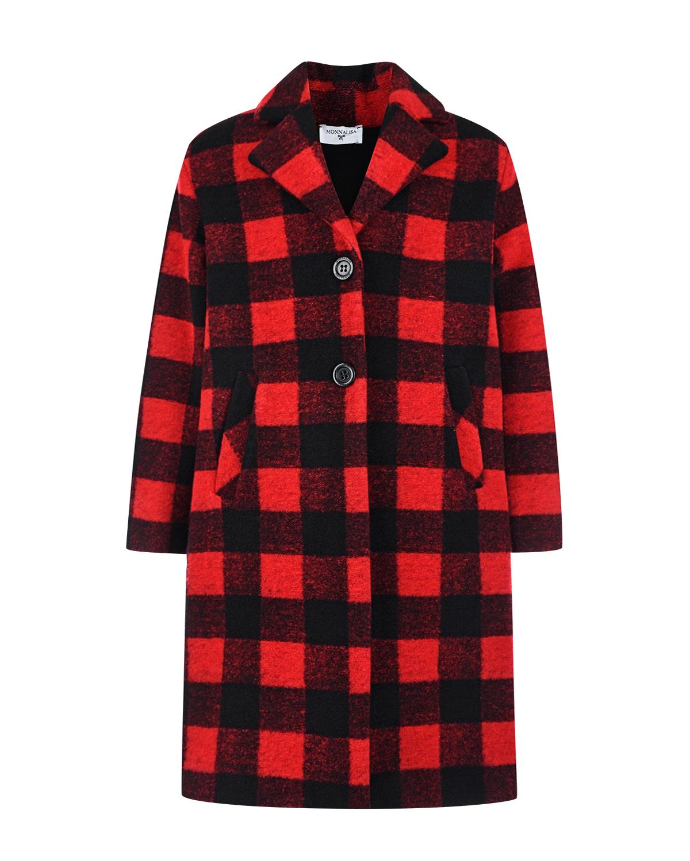 Купить Пальто в черно-красную клетку Monnalisa детское, Мультиколор, 34%акрил+30%вискоза+20%полиэстер+14%шерсть+2%эластан, 65%ацетат+35%вискоза