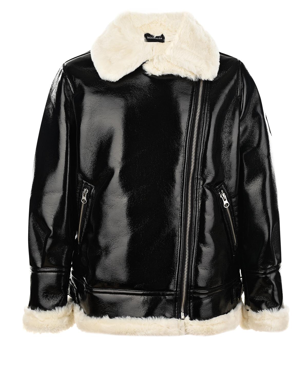 Купить Черная куртка-авиатор из эко-кожи Monnalisa детская, Черный, 50%полиэстер+50%полиуретан.100%полиэстер