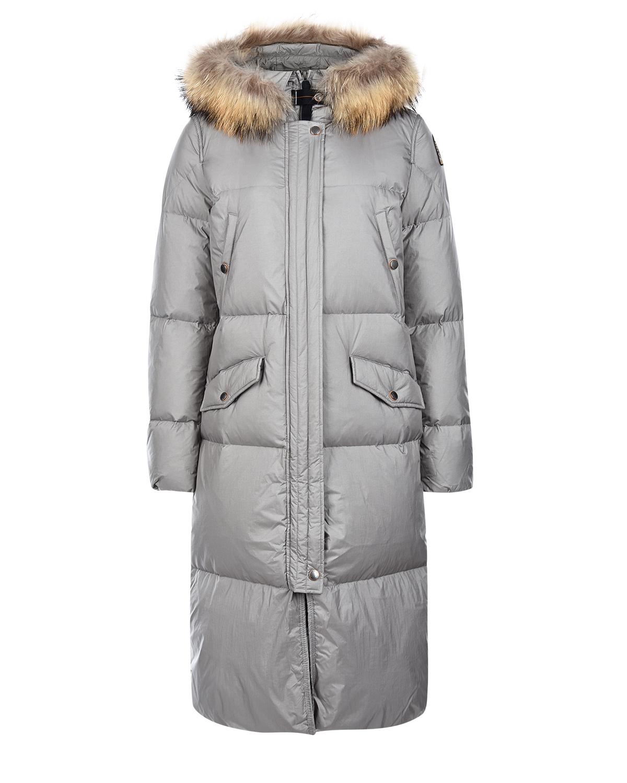 Купить Серебряное пальто-пуховик с меховой отделкой Parajumpers, Серый, 100%полиамид, 90%пух+10%перо, 100%нат.мех, 100%полиэстер