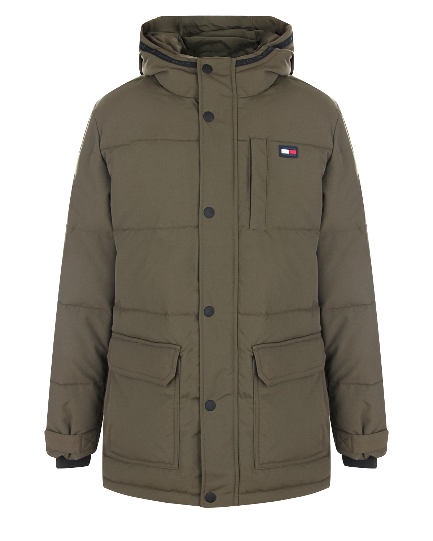 Утепленная куртка цвета хаки Tommy Hilfiger детская фото