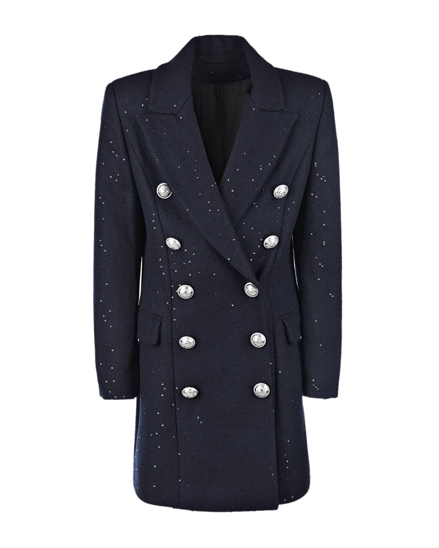 Купить Двубортное пальто с отделкой пайетками Balmain детское, Синий, 78%шерсть+13%полиэстер+9%полиамид, 100%вискоза