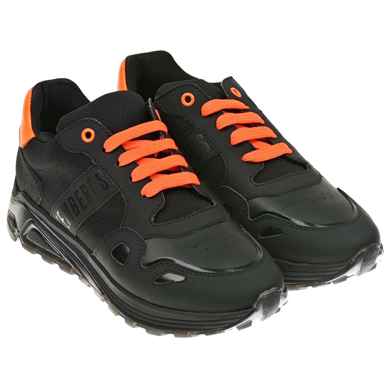 Купить Черные кроссовки с оранжевыми шнурками Bikkembergs детские, Черный, верх-30%полиуретан+25%полиэстер+18%нат.кожа+15%нейлон+2%хлопок, подкладка-100%полиэстер, стелька-100%нат.кожа, подошва-100%полимерные материалы