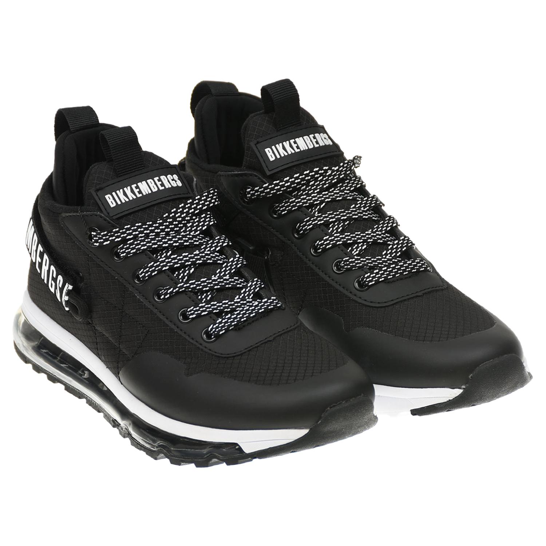 Купить Черно-белые кроссовки с прозрачной подошвой Bikkembergs детское, Черный, верх-80%полиэстер+20%полиуретан, подкладка и стелька-100%хлопок, подошва-35%EVA+35%резина+30%полиуретан