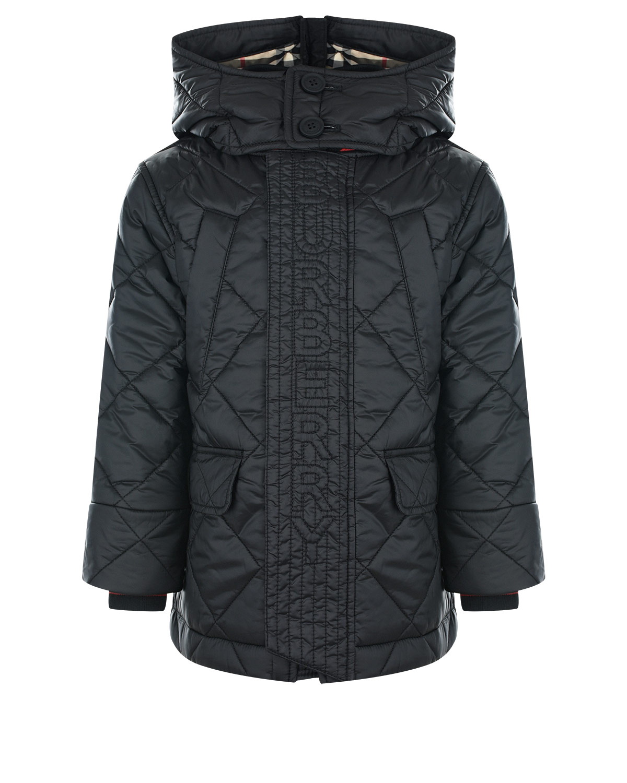 Купить Черная стеганая куртка с капюшоном Burberry детская, Черный, 100%полиэстер, 100%хлопок, 50%акрил+40%хлопок+9%полиамид+1%эластан