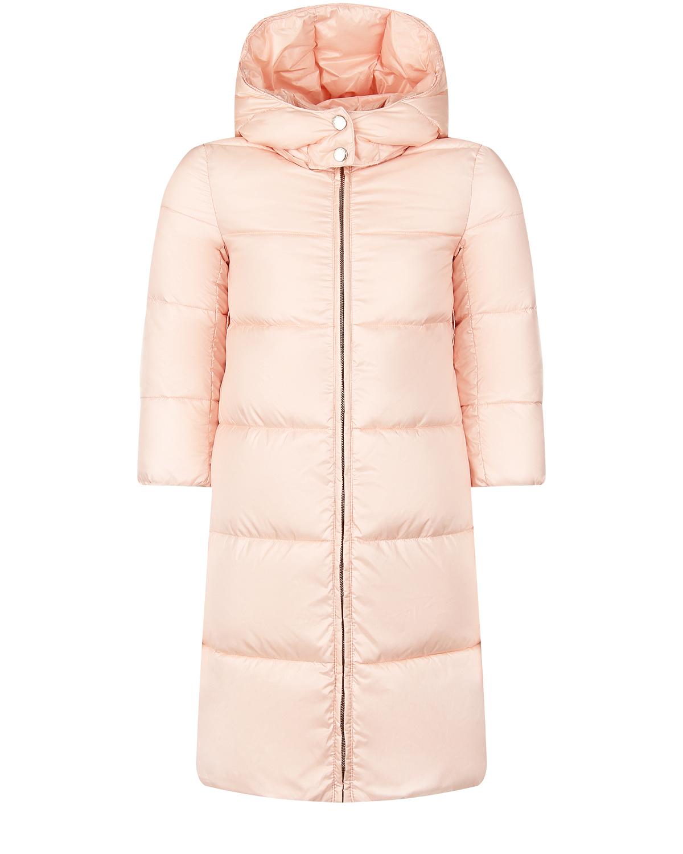 Купить Розовое стеганое пальто для девочек Emporio Armani детское, Розовый, 100%полиамид, 58%полиамид+30%полиэстер+12%эластан, 100%полиэстер