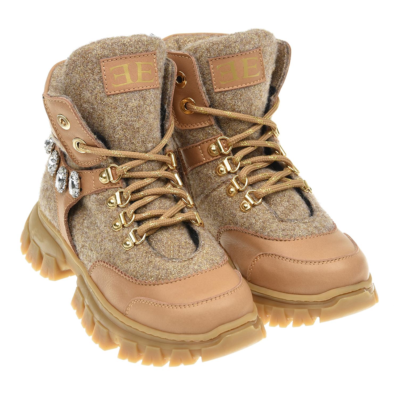 Купить Высокие кроссовки с декоративными камнями Ermanno Scervino детские, Бежевый, верх-52%нат.кожа+ 43%шерсть+5%полиэстер, подкладка: 74%полиэстер+26%шерсть, подошва-100%резина