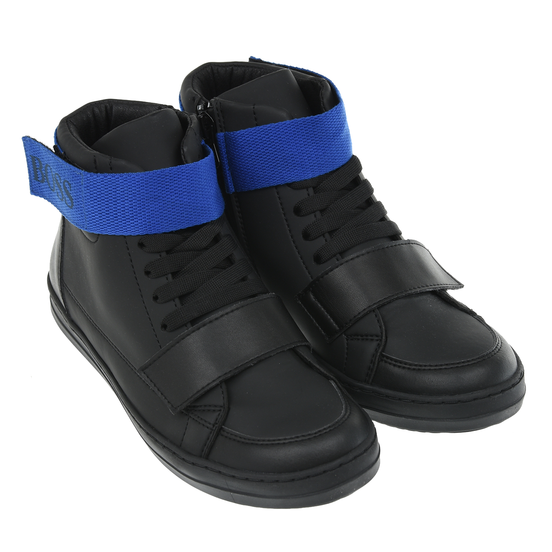 Купить Черные высокие кеды Hugo Boss детские, Черный, Верх:100%кожа, подкладка:100%полиэфир, стелька:100%полиэфир, подошва:100%полимерный материал