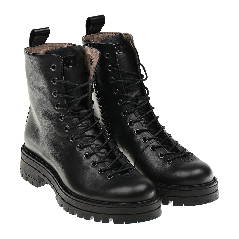 Купить Высокие ботинки для девочек Jarrett детские, Черный, верх-100%нат.кожа, подкладка и стелька-100%нат.кожа, подошва-100%резина