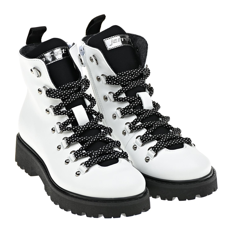 Купить Высокие ботинки белого цвета Jarrett детские, Белый, верх-80%нат.кожа+20%текстиль(80%полиамид+20%эластан), подкладка и стелька-75%шерсть+25%кашемир, подошва-100%резина