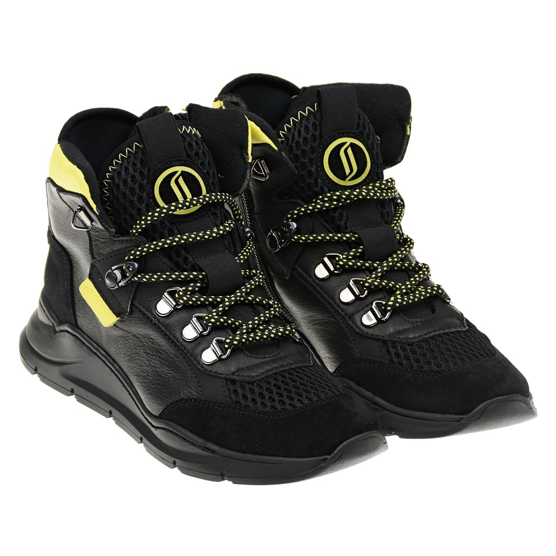 Купить Высокие черные кроссовки с желтыми вставками Jarrett детские, Черный, верх-60%полиэстер+40%нат.кожа, подкладка и стелька-100%полиэстер, подошва-100%резина