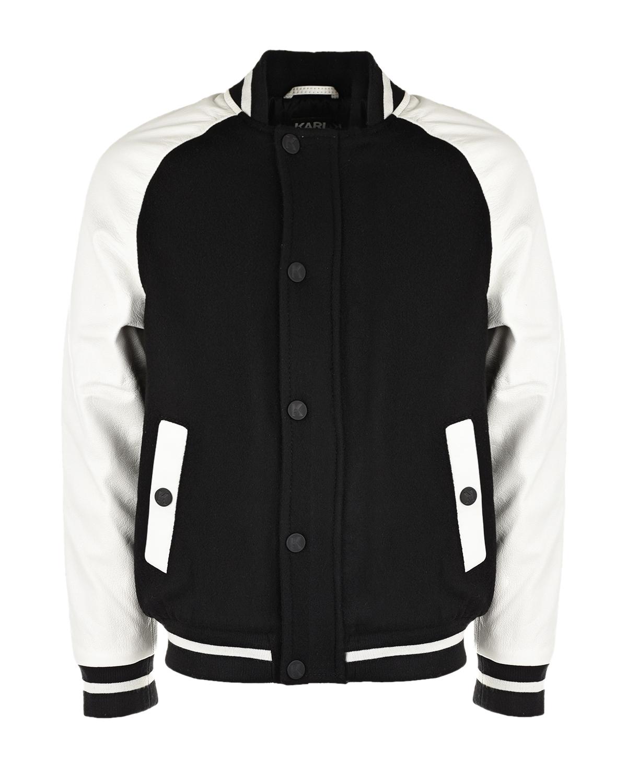 Купить Кожаная куртка-бомбер Karl Lagerfeld kids детская, Мультиколор, 28%полиамид+72%шерсть, 100%нат.кожа, 53%полиэстер+47%вискоза, 98%полиэстер+2%эластан, 100%полиэстер