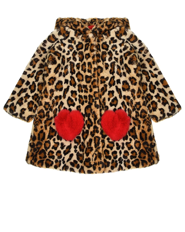 Купить Шуба из эко-меха с леопардовым принтом Monnalisa детская, Нет цвета, 100%полиэстер, 100%модакрил