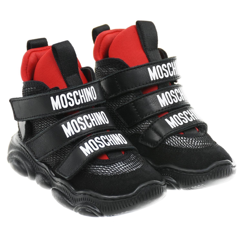 Купить Высокие кроссовки с красными вставками Moschino детские, Черный, верх-36%нат.кожа+ 39%полиэстер+20%полиамид+5%эластан, подкладка и стелька-100%нат.кожа, подошва-100%термопластичная резина
