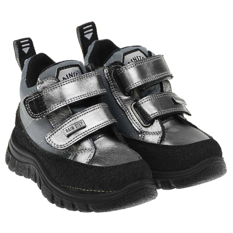 Купить Высокие кроссовки с серебристой отделкой Naturino детские, Серебристый, Верх:75%нат.кожа+25%текстиль(93%полиэстер+5%полиуретан+2%хлопок), Подкладка:100%шерсть, Стелька:100%шерсть, Подошва:100%резина