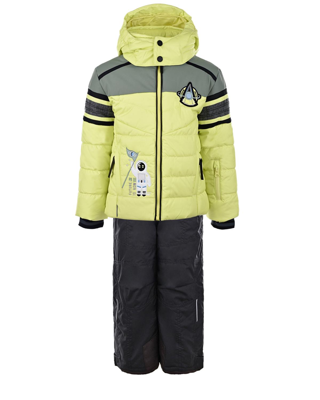 Зимний комплект из салатовой куртки и черного полукомбинезона Poivre Blanc детский, Салатовый, 100%полиэстер  - купить со скидкой