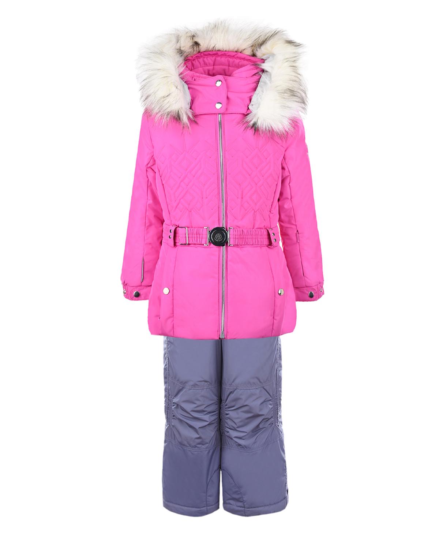 Комплект из розовой куртки и серого полукомбинезона Poivre Blanc детский