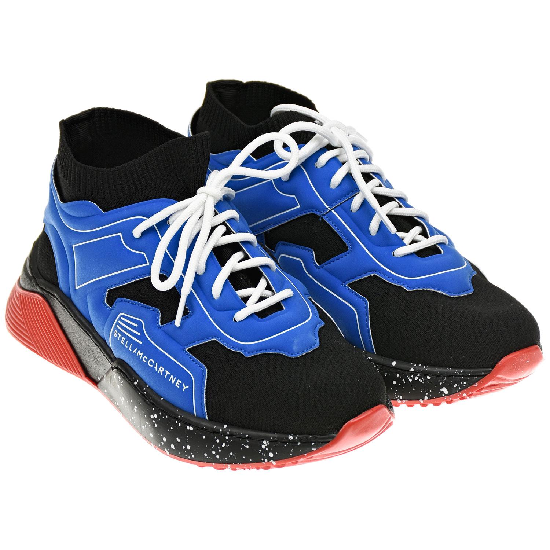 Купить Синие кроссовки-носки с черными вставками Stella McCartney детские, Синий, Верх:50%полиэстер+35%полиуретан+10%эластан+5%хлопок, подкладка:80% полиэстер+20% эластан, стелька:100% хлопок, подошва:100% термопластичная резина