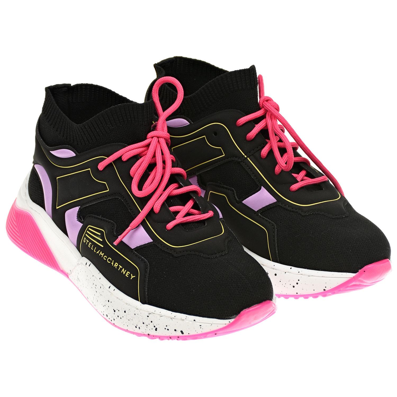 Купить Черные кроссовки-носки со шнурками цвета фуксии Stella McCartney детские, Черный, Верх:50% полиэстер+35%полиуретан+10% эластан+5%хлопок, подкладка:80% полиэстер+20% эластан, стелька:100% хлопок, подошва:100% термопластичная резина