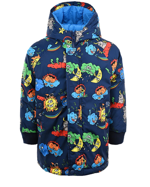 Купить Синяя куртка с принтом тучи и звезды Stella McCartney детская, Синий, 100%полиэстер, 99%полиэстер+1%эластан