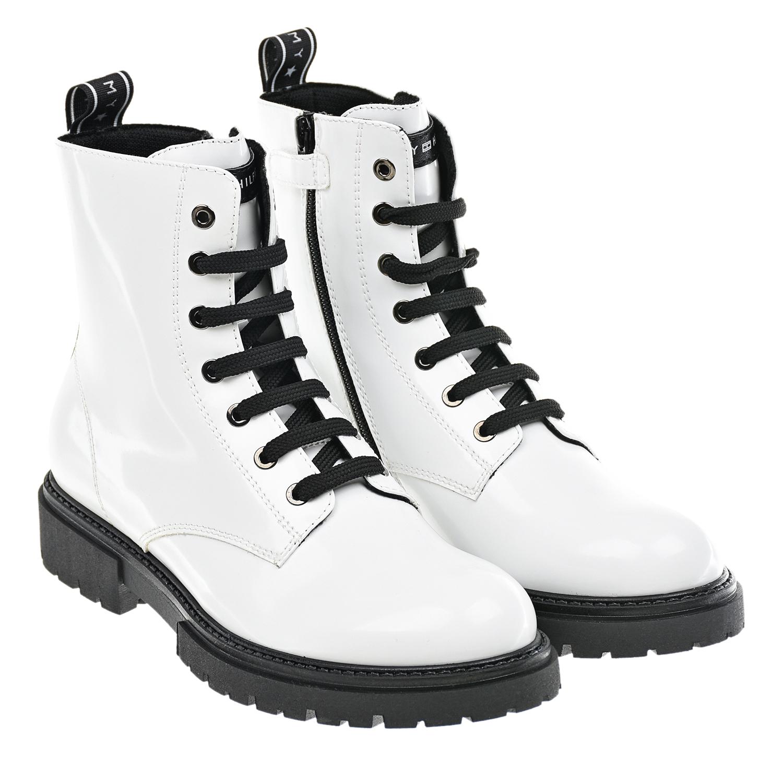 Купить Высокие белые ботинки Tommy Hilfiger детские, Белый, верх:100%полиуретан, подкладка:100%терилен, подошва:100%термопластичная резина
