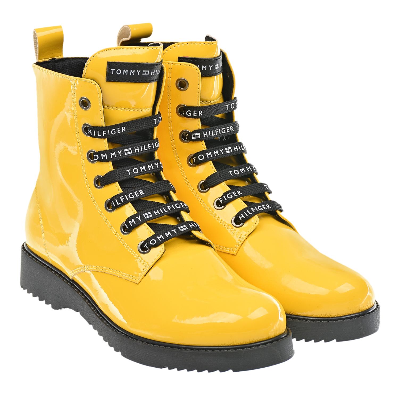 Купить Высокие желтые ботинки Tommy Hilfiger детские, Желтый, верх:100%полиуретан, подкладка:100%терилен, подошва:100%термопластичная резина
