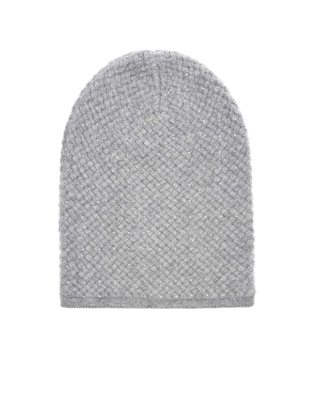 Купить Серая шапка со стразами SWAROVSKI William Sharp, Серый, 100%кашемир, кристаллы SWAROVSKI