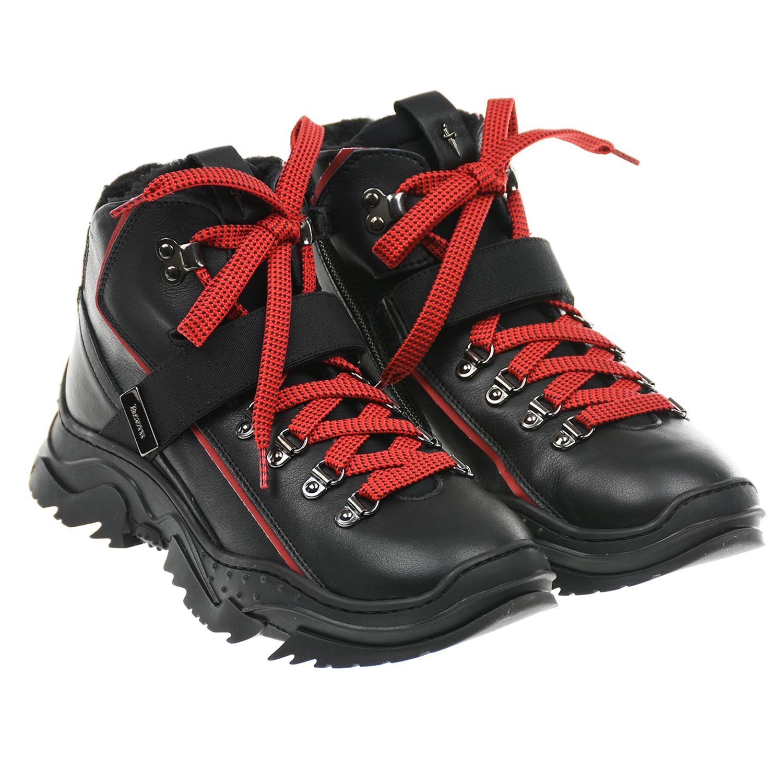 Купить Черные кроссовки с красными шнурками Cesare Paciotti детские, Черный, верх:77%нат.кожа+5%полиуретан+1%полиэстер+1%хлопок+13%полиамид+3%эластан, подкладка и стелька:100%полиэстер, подошва:100%термопластичная резина