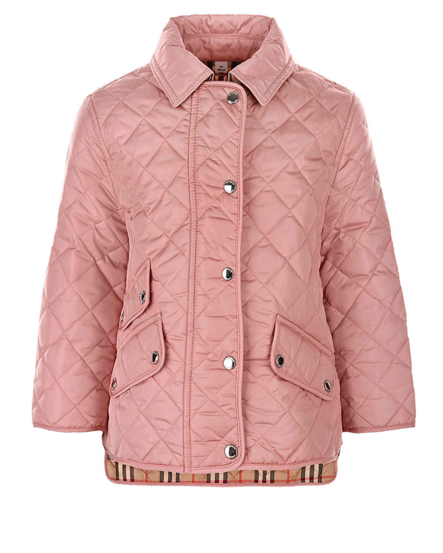 Купить Стеганая куртка с удлиненной спинкой Burberry детская, Розовый, 100%полиамид, 100%полиэстер