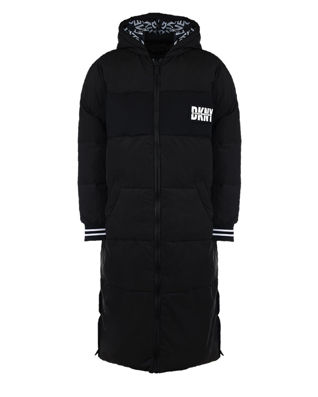 Купить Черное стеганое пальнто DKNY детское, Черный, 100%полиэстер, 88%полиэстер+12%хлопок, 97%полиэстер+3%эластан