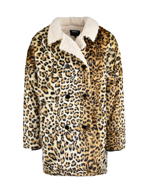 Полушубок с леопардовым принтом DKNY детский