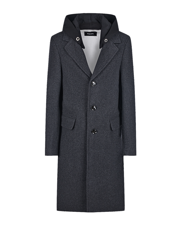 Купить Серое пальто с капюшоном Diesel детское, Серый, 50%шерсть+45%полиэстер+5%др.материалы, 100%хлопок, 100%полиэстер