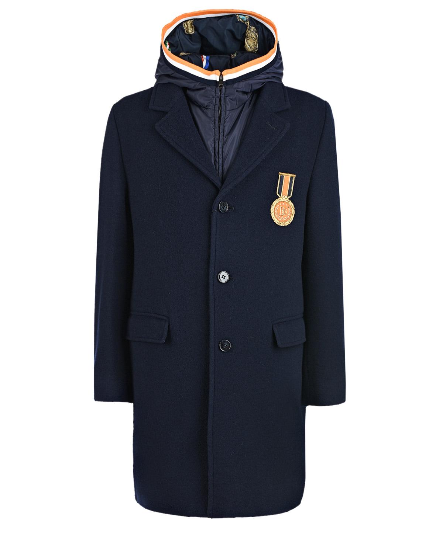 Купить Темно-синее пальто с жилетом Dolce&Gabbana детское, Мультиколор, 20%полиамид+80%шерсть, 20%полиамид+20%полиэстер+60%вискоза, 100%полиэстер, 96%хлопок+4%эластан, 30%пух+70%перо, 70%полиэстер+30%вискоза