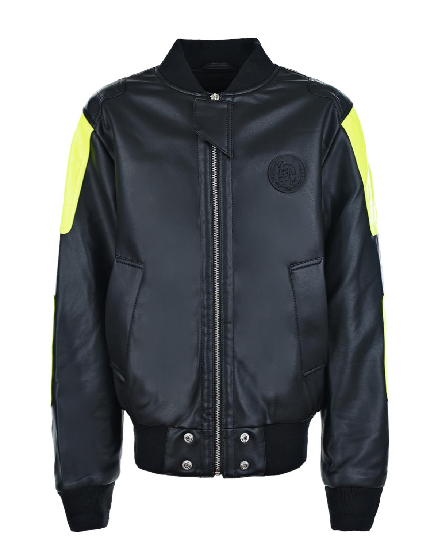 Купить Куртка-бомбер с неоново-желтыми вставками на рукавах Diesel детская, Черный, 100%полиуретан, 98%полиэстер+2%эластан, 100%вискоза