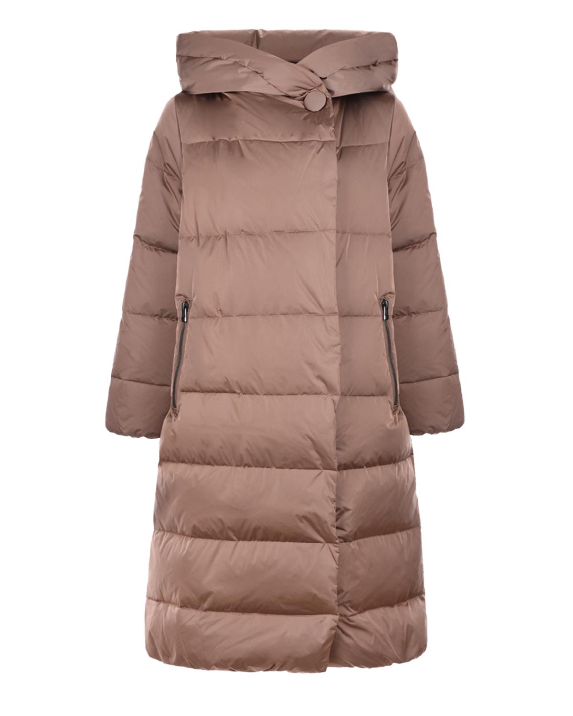 Купить Бежевое пальто с капюшоном Freedomday, Бежевый, 100%нейлон, 100%полиэстер, 90%пух+10%перо