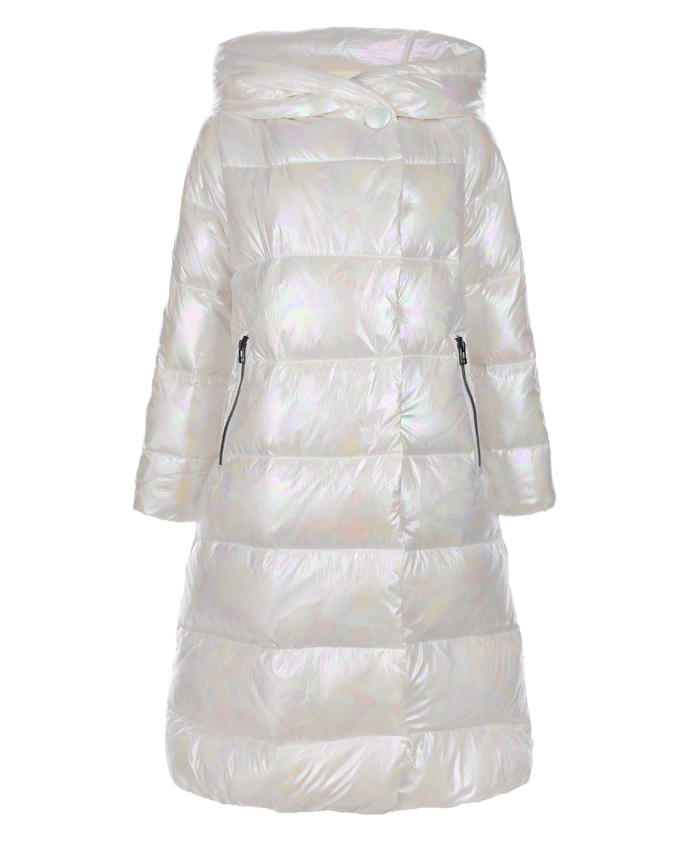 Купить Стеганое пальто с перламутровым эффектом Freedomday, Белый, 100%нейлон, 100%полиэстер, 90%пух+10%перо