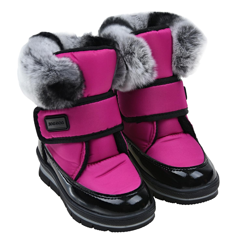 Купить Мембранные сапоги розового цвета Jog Dog детские, Розовый, Верх:85%текстиль(46% полиамид, 54% полиэстр)+15%искусств. кожа, Подкладка:100% шерсть, Подошва:100% полимерный материал