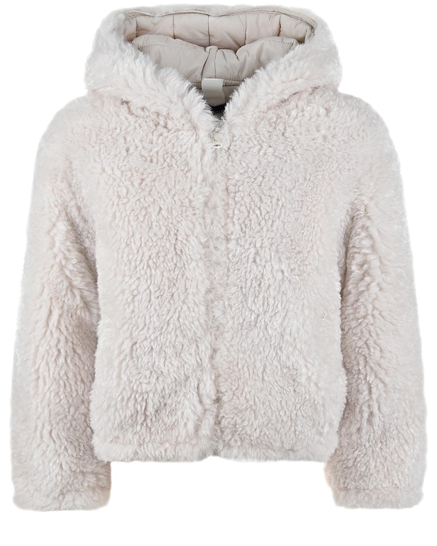 Купить Куртка из эко-меха Monnalisa детская, Белый, 100%полиэстер. 100%полиэстер