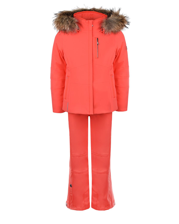 Купить Горнолыжный комплект из оранжевой куртки и брюк Poivre Blanc детский, Оранжевый, 85% полиамид+15% эластан, 100% полиэстер, 95%полиэстер+5% эластан, нат. мех Енота
