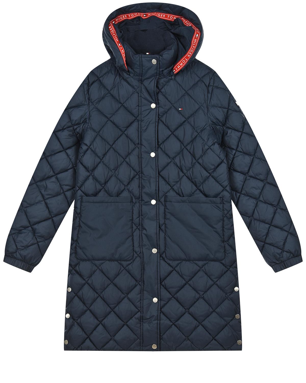 Купить Синее стеганое пальто с капюшоном Tommy Hilfiger детское, Синий, 100%полиэстер