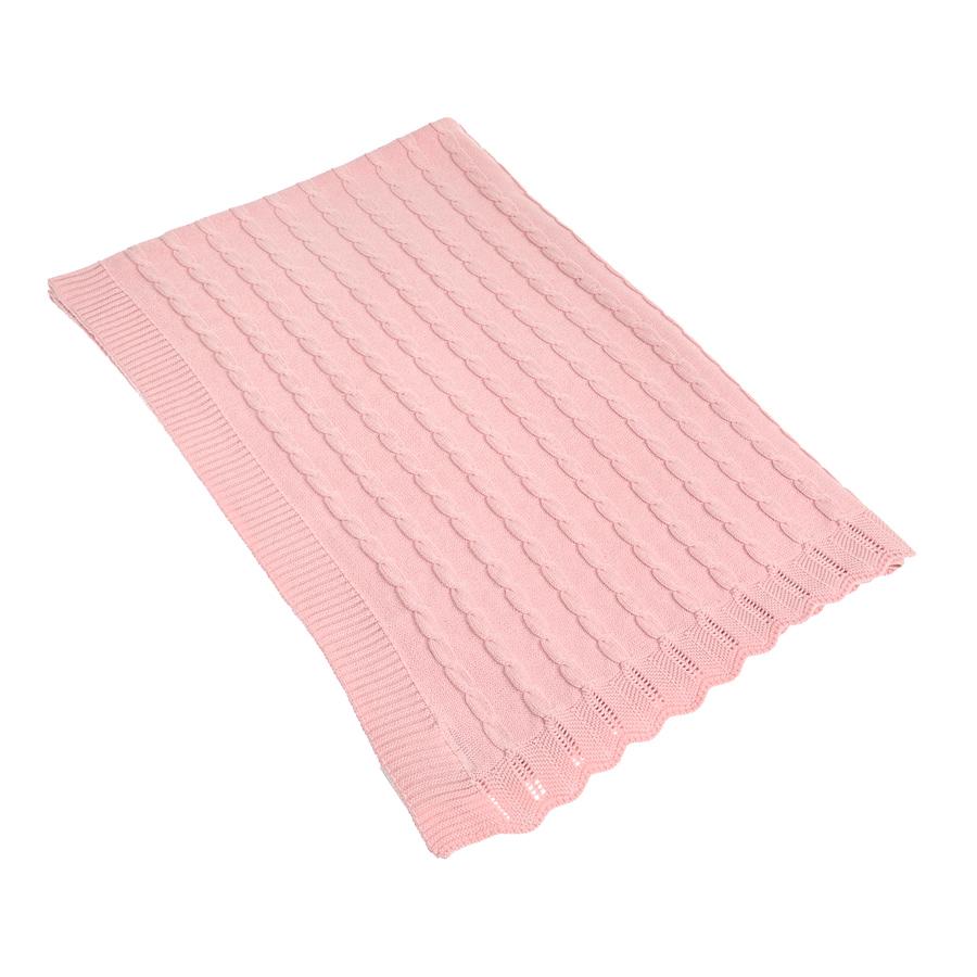 Плед Jan&Sofie розовый, косы, 100% хлопок, 70*100см