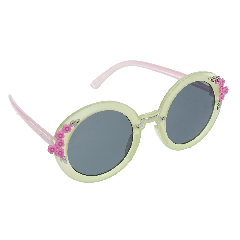 MonnaLisa Beach Очки Monnalisa круглые, салатовая оправа, по оправе розовые цветы