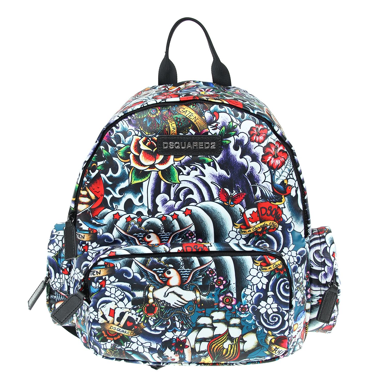 Рюкзак Dsquared2  полностью принт, передний и боковые карманыСумки и рюкзаки<br><br>