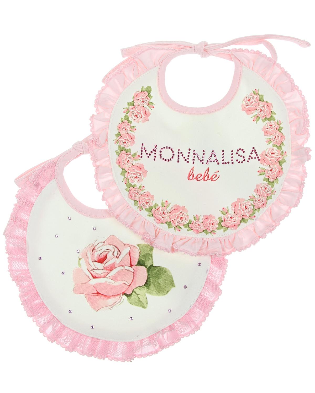MonnaLisa Bebe Набор подарочный Monnalisa 2 слюнявчика,принт розы, стразы