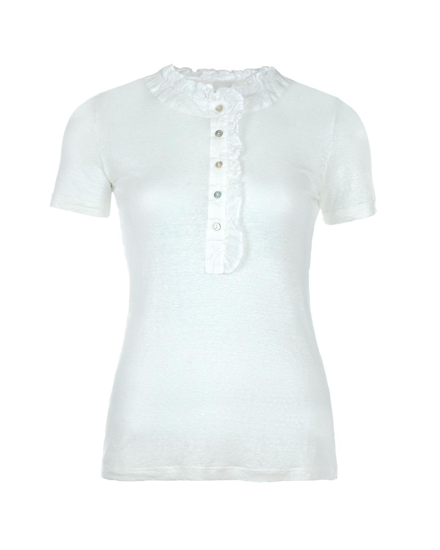 Футболка с рюшамиТопы, Футболки<br>Белая футболка 120% Lino. Модель с круглым вырезом и короткими рукавами. Застегивается на пуговицы на планке. Футболка выполнена из льняного трикотажа, горловина и планка декорированы.