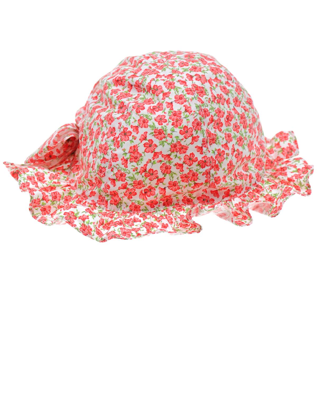 Хлопковая панама с цветочным принтомПанамы<br>Панама Aletta выполнена из натурального хлопка с цветочным принтом. Модель украшена бантом на затылке. Небольшие поля выполнены в виде рюши.