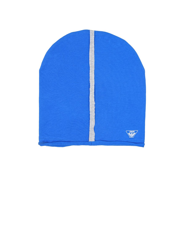 Шапка Emporio ArmaniШапки<br>Шапка Armani из хлопкового трикотажа синего цвета. Модель декорирована принтом с изображением логотипа и серебристой полосой.
